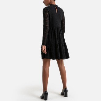 Molly Bracken Short Flared Lace Dress with High Neck
