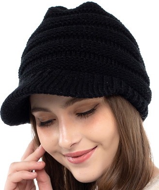 Kollie More Women's Beanies Black - Black Rib-Knit Brimmed Beanie - Women