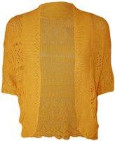 WearAll Women's Plus Size Crochet Knitted Short Sleeve Cardigan - US 12-14 (UK 16-18)
