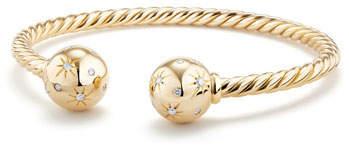 David Yurman Solari 18K Gold Open Cuff Bracelet with Diamonds