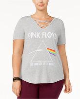 Hybrid Trendy Plus Size Pink Floyd Lace-Up T-Shirt
