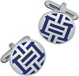 Jan Leslie Silvertone Reflex Round Cuff Links, Blue