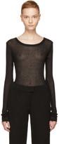 Ann Demeulemeester Black Long Sleeve Ribbed T-Shirt