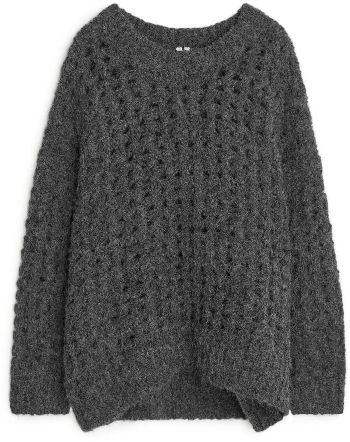 Arket Lace Knit Oversized Wool Jumper