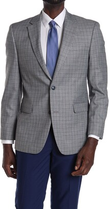 Tommy Hilfiger Grey Checked Two Button Notch Lapel Sport Coat