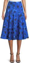 Michael Kors Poppy-Print A-Line Midi Dance Skirt