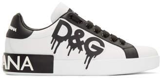 Dolce & Gabbana White Paint Portofino Sneakers