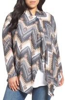 Bobeau Plus Size Women's One-Button Zigzag Print Cardigan