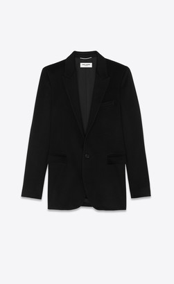 Saint Laurent Blazer Jacket Single-breasted Jacket In Flannel Cashmere Black 34