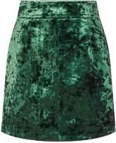 Sandro Velvet Mini Skirt, Brown, 3