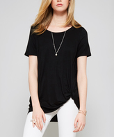Black Knotted Scoop Neck Tunic