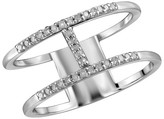 1/10 CT. T.W. Round-Cut White Diamond Prong Set H Ring in Sterling Silver