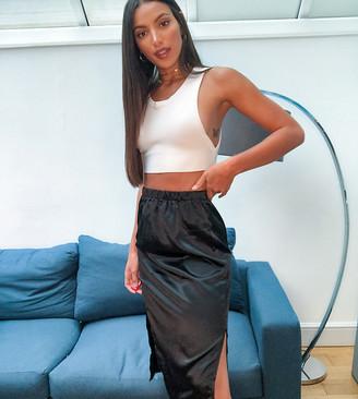 Parisian Tall satin midi skirt with splits in black