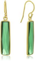 Ice 10 CT TW Green Emerald Quartz 14K Gold Over Silver Bar Dangle Earrings