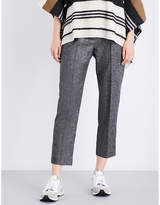 Brunello Cucinelli High-rise cropped stretch wool and cashemere-blend trousers