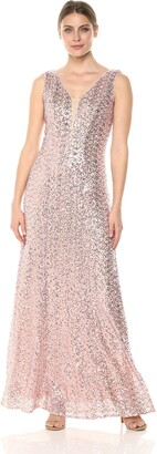 Cachet Women's Sequin Sleevless Gown with Center mesh