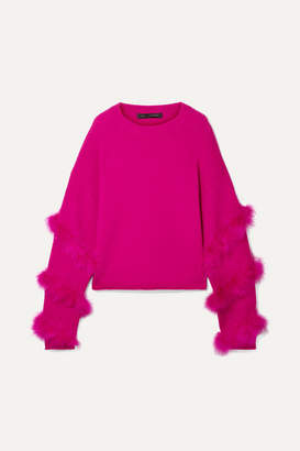 Sally LaPointe Feather-trimmed Silk And Cashmere-blend Sweater - Fuchsia