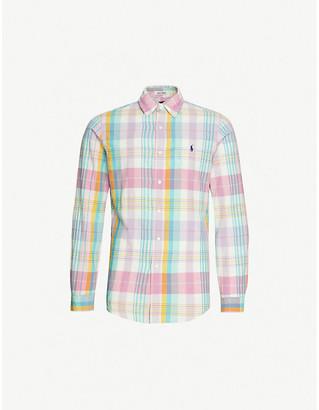 Polo Ralph Lauren Pony-embroidered plaid slim-fit cotton-poplin shirt