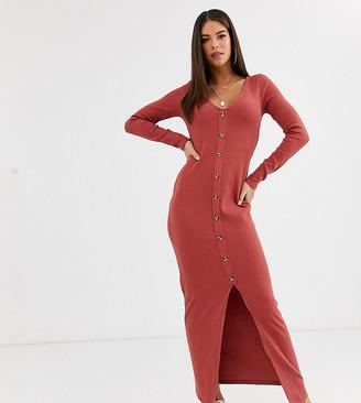 Asos Tall ASOS DESIGN Tall waffle button through maxi dress in red