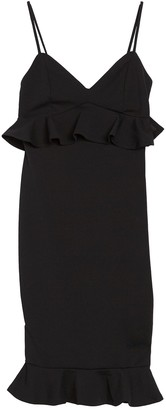 FAVLUX V-Neck Ruffle Trim Bodycon Dress