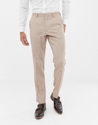ASOS DESIGN wedding slim suit trousers in camel cross hatch