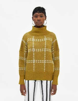 Eckhaus Latta Women's Windowpane Alpaca Sweater in Lichen, Size Small | Wool