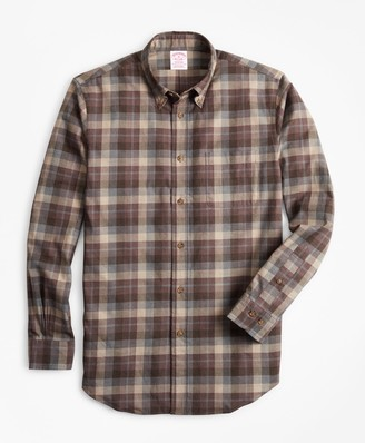 Brooks Brothers Madison Fit Tan Plaid Brushed Flannel Sport Shirt