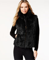 Surell Pockets & Front Zip Rabbit Fur Vest