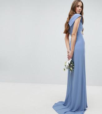 TFNC Tall Bardot Maxi Bridesmaid Dress With Fishtail and Embellished Waist