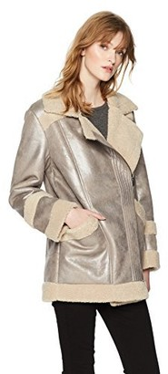 French Connection Women's Zelda Silver Metallic Shearling Coat Large