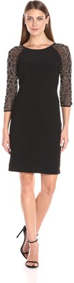 Chetta B Women's Dress with Sheer Beaded Sleeve