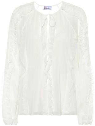 RED Valentino Ruffled silk-blend blouse