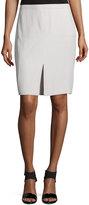Halston Mid-Rise Front-Slit Pencil Skirt, Dark Bone