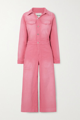 Kenzo Cropped Appliqued Denim Jumpsuit - Pink