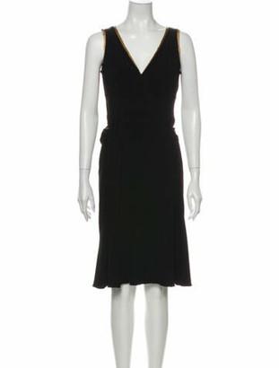 Prada V-Neck Knee-Length Dress Black