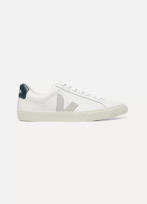 Veja Net Sustain Esplar Suede-trimmed Leather Sneakers - White
