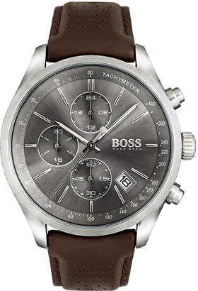 HUGO BOSS Men's Grand Prix Chronograph Watch with Leather Strap, Gray/Brown