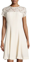 Taylor Lace-Yoke Short-Sleeve Fit-and-Flare Dress, Cream