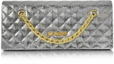 Love Moschino Evening Laminated Quilted Eco Leather Clutch
