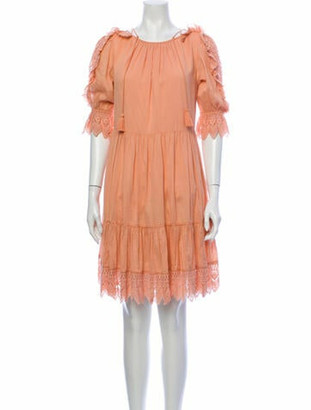 Ulla Johnson Tie Neck Mini Dress Orange