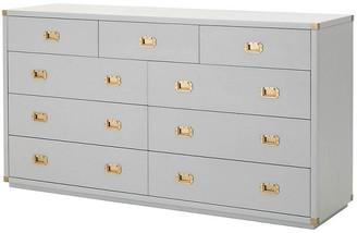 One Kings Lane Cooper 9-Drawer Media Dresser - Dove Gray/Gold