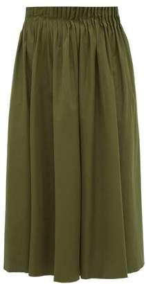 Marni Pleated-waist Cotton-poplin Midi Skirt - Womens - Khaki