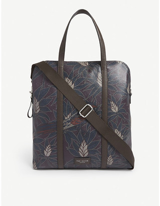 Ted Baker Bahamm printed leather convertible backpack
