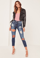 Missguided Blue Highwaisted Rip Cropped Skinny Jeans