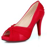 Balamasa Womens Peep Toe Pull-On Solid High-Heels Pumps-Shoes
