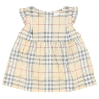 Burberry Cotton Dress With Tartan Motif And Bloomer Shorts