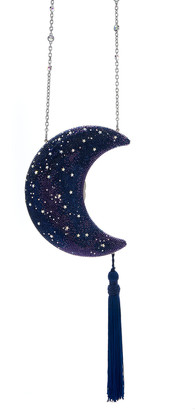 Judith Leiber Couture Crescent Moon Galaxy Crystal Clutch Bag