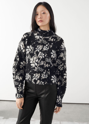And other stories Alpaca Blend Mock Neck Jacquard Sweater