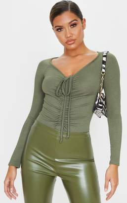 PrettyLittleThing Sage Khaki Ruched Front Long Sleeve Bodysuit