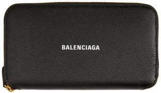Balenciaga Black Logo Continental Wallet